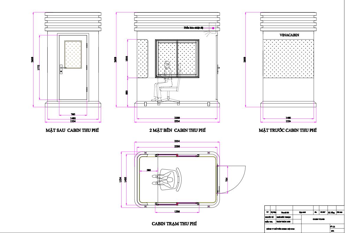 Bản vẽ cabin thu phí VC1H1400